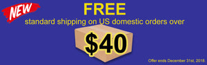 Free standard domestic shipping on orders over $40!