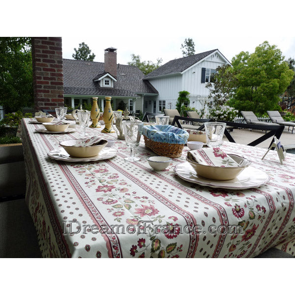 Fayence Tablecloth and Napkins, Lavender Blue Bread Basket, Private residence, Tustin Foothills, CA