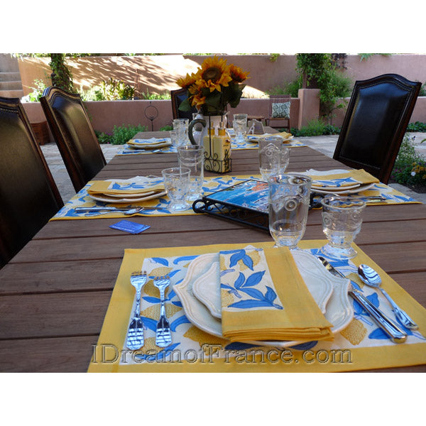 Couleur Nature, Lemon Blue & Yellow Placemats and Napkins, Private residence, Tustin Foothills, CA