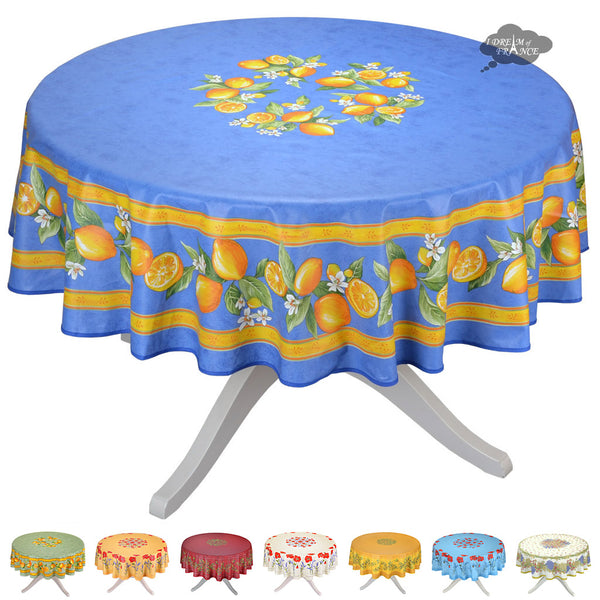 """90"""" round coated cotton tablecloths"""