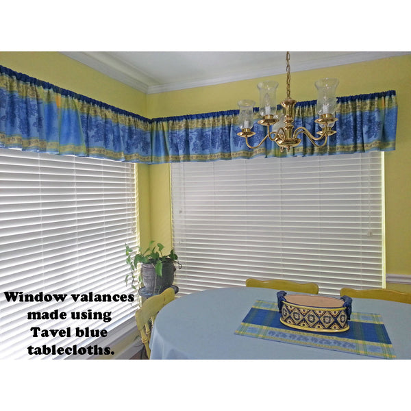 Window Valances Made with Tavel Blue Tablecloths, Michelle W.