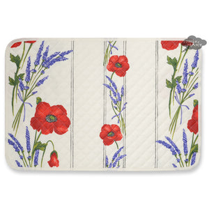Poppies Cream Acrylic Coated Quilted Placemats by Tissus Toselli