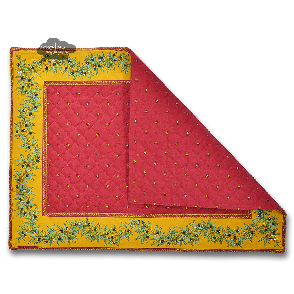 Ramatuelle Claisson Red Quilted Placemat By Tissus