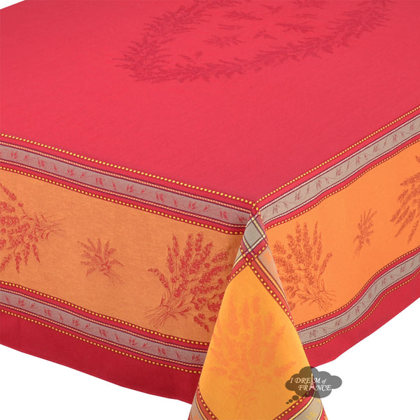 "62x120"" Rectangular Senanque Red Jacquard Tablecloth with Teflon"