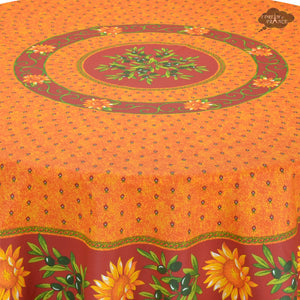 "68"" Round Sunflower Red Cotton Coated Provence Tablecloth - Close Up"