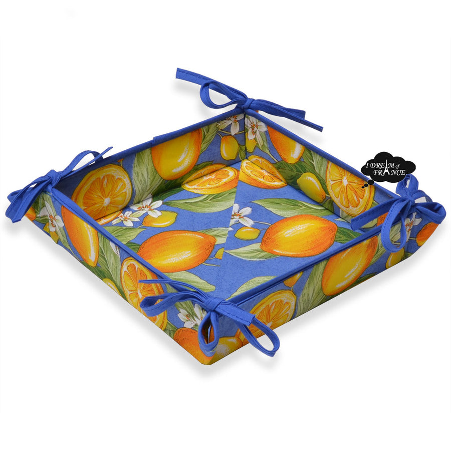 Lemons Blue Cotton Coated Bread Basket by Tissus Toselli