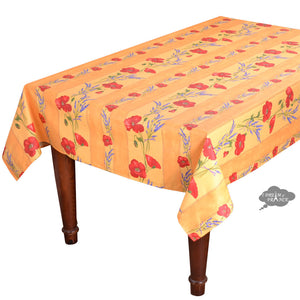 "60x78"" Rectangular Poppies Yellow Acrylic Coated Cotton Tablecloth by Tissus Toselli"