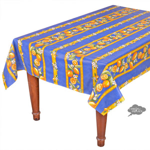 "60x120"" Rectangular Lemons Blue Acrylic Coated Cotton Tablecloth by Tissus Toselli"
