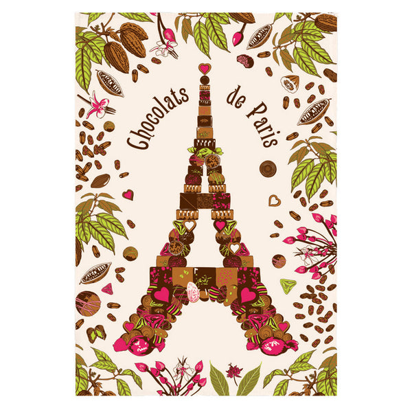Chocolats de Paris Eiffel Tower Tea Towel by Torchons et Bouchons