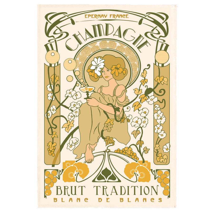 Champagne Epernay Art Nouveau Tea Towel by Torchons & Bouchons