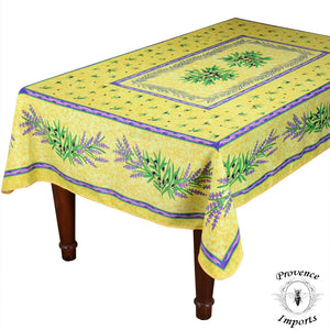"Matisse Yellow French Provencal Stain Resistant Polyester Tablecloth - 59x88"" Rectangular"
