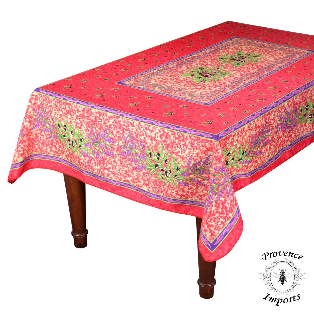 "Matisse Red French Provencal Stain Resistant Tablecloth - 59x88"" Rectangular"