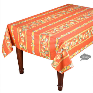 "60x 78"" Rectangular Lemons Orange Coated Cotton Provence Tablecloth by Tissus Toselli"