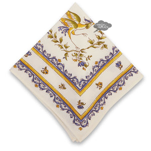 Moustiers Blue & Cream French Cotton Napkin by Tissus Toselli