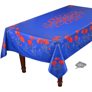 "60x 96"" Rectangular Poppies Blue Coated Cotton Tablecloth by Tissus Toselli"