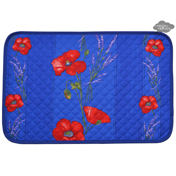 Poppies Blue Acrylic Coated Quilted Placemats by Tissus Toselli