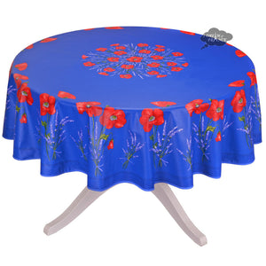 "70"" Round Poppies Blue Coated Cotton Tablecloth by Tissus Toselli"