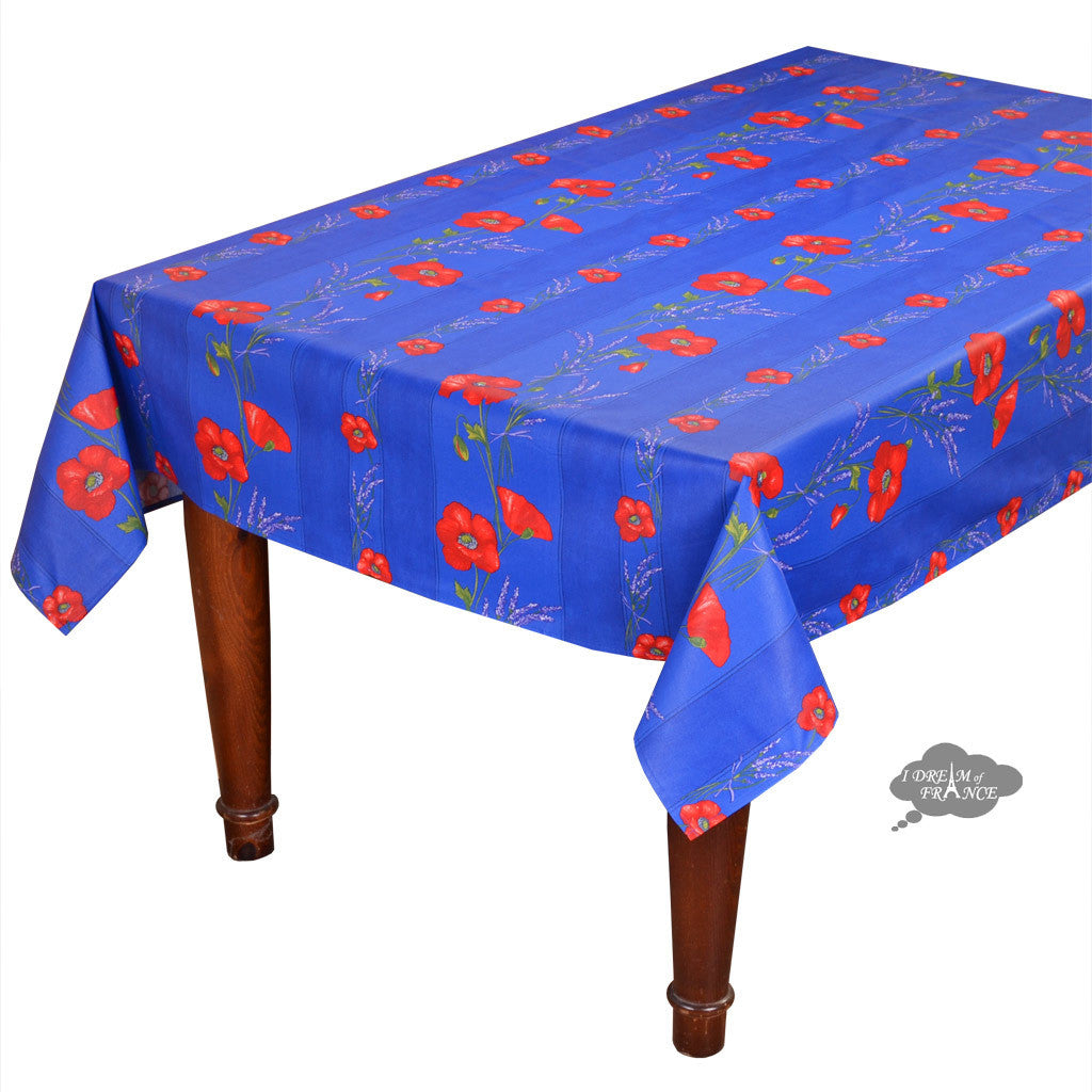 "60x 78"" Rectangular Poppies Blue Coated Cotton Tablecloth by Tissus Toselli"