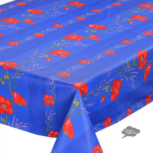 "60x 78"" Rectangular Poppies Blue Coated Cotton Tablecloth by Tissus Toselli - Close Up"