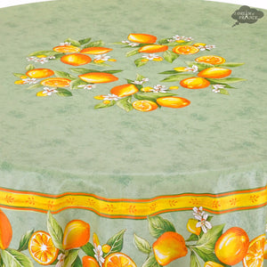 "90"" Round Lemons Green Coated Cotton Tablecloth Close Up"