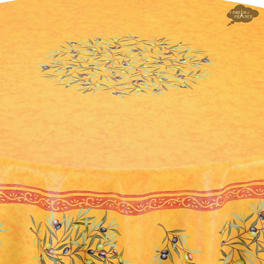 "70"" Round Clos des Oliviers Yellow Coated Cotton Tablecloth by Tissus Toselli"