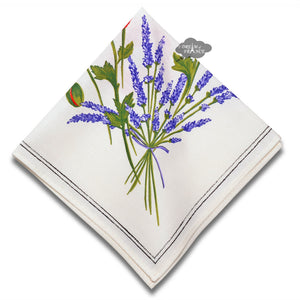 Poppies Cream Provence Cotton Napkin by Tissus Toselli