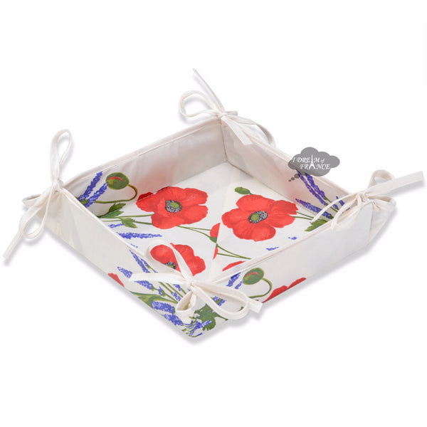 Poppies Cream Acrylic Coated Bread Basket by Tissus Toselli