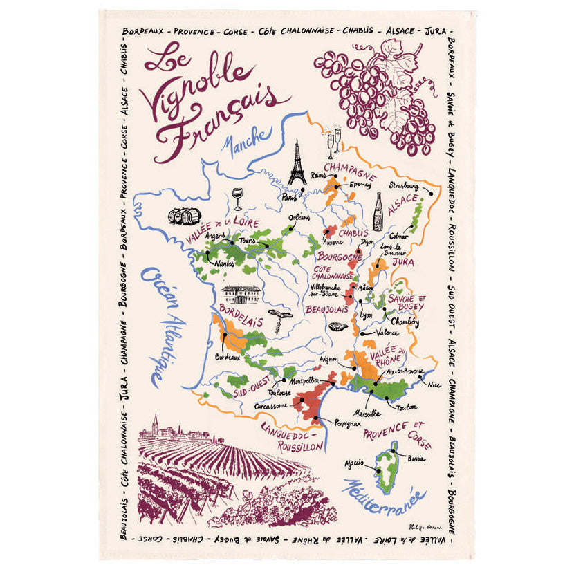French Wine Map Tea Towel by Torchons et Bouchons