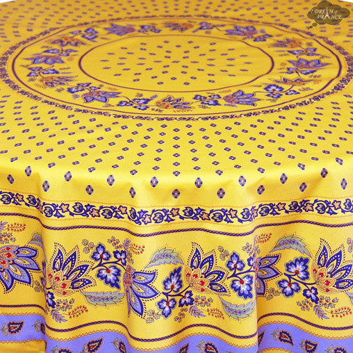 "68"" Round Lisa Yellow Cotton Coated French Country Tablecloth Close Up"