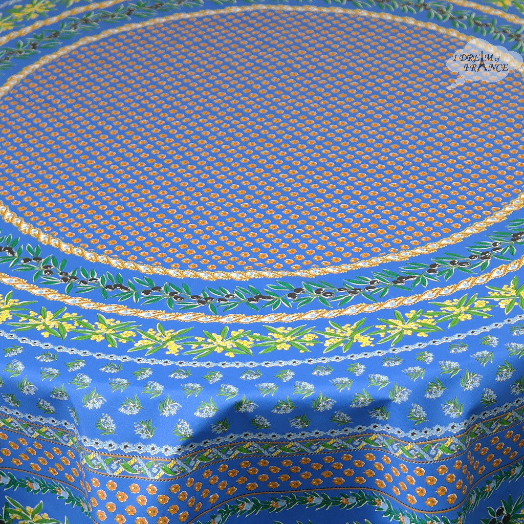 "68"" Round Olives Blue Cotton Coated Provence Tablecloth Close Up"