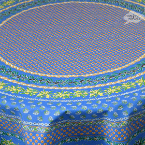 "70"" Round Olives Blue Cotton Coated Provence Tablecloth Close Up"