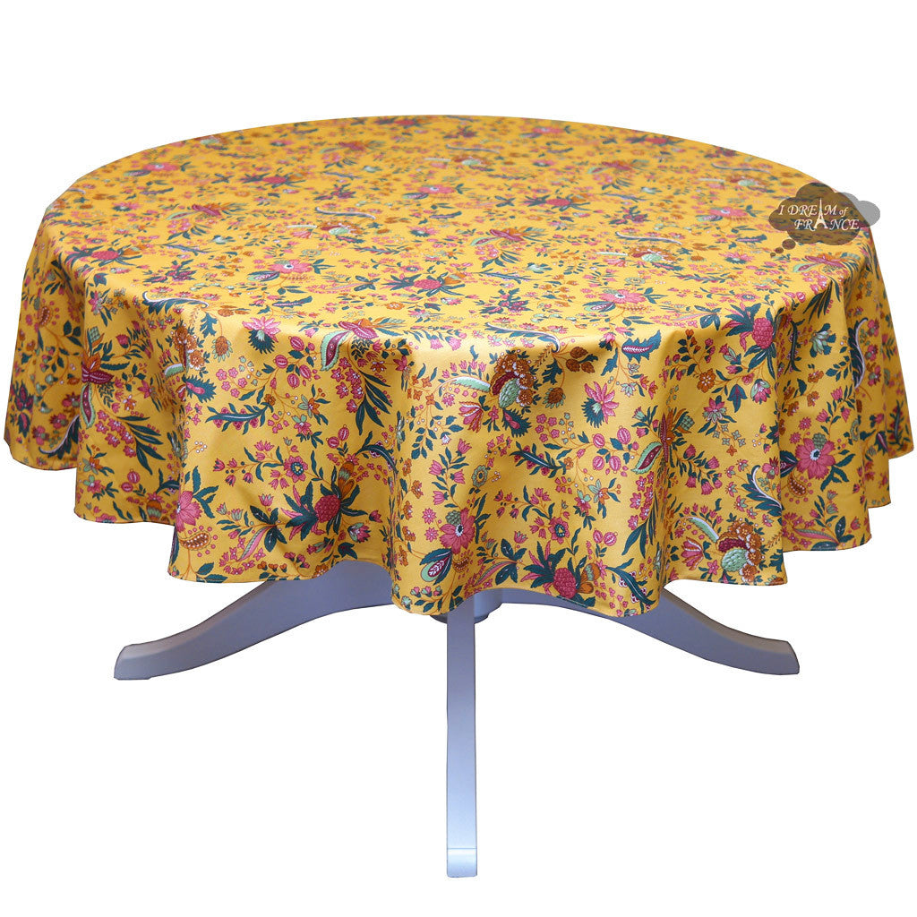 """60"""" Round Versailles Yellow Cotton Coated Provence ..."""