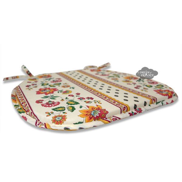 Fayence Cream Coated French Style Chair Pad by Le Cluny
