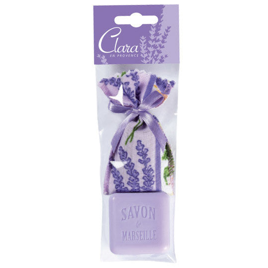 Small Lavender Sachet & Square Soap by Clara en Provence