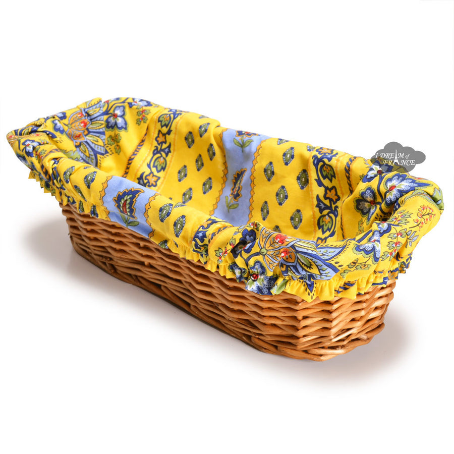 Lisa yellow French Baguette Basket with Removable Liner by Le Cluny