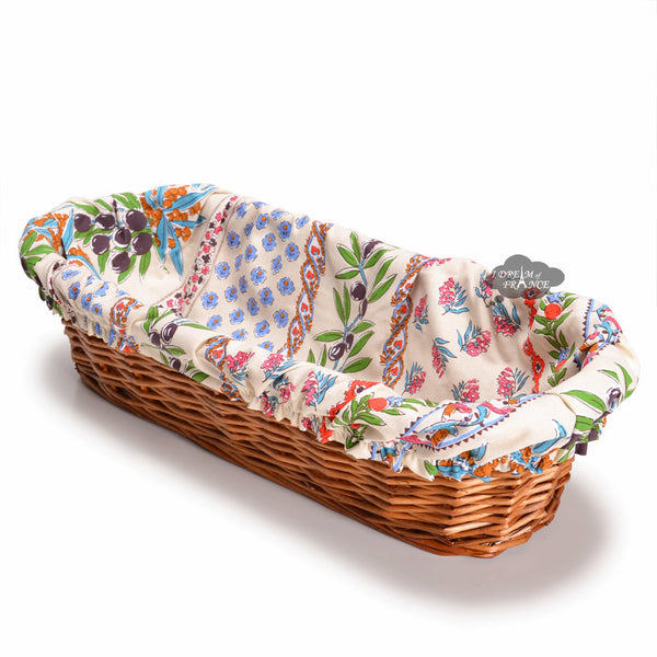 Olives Cream French Baguette Basket with Removable Liner by Le Cluny