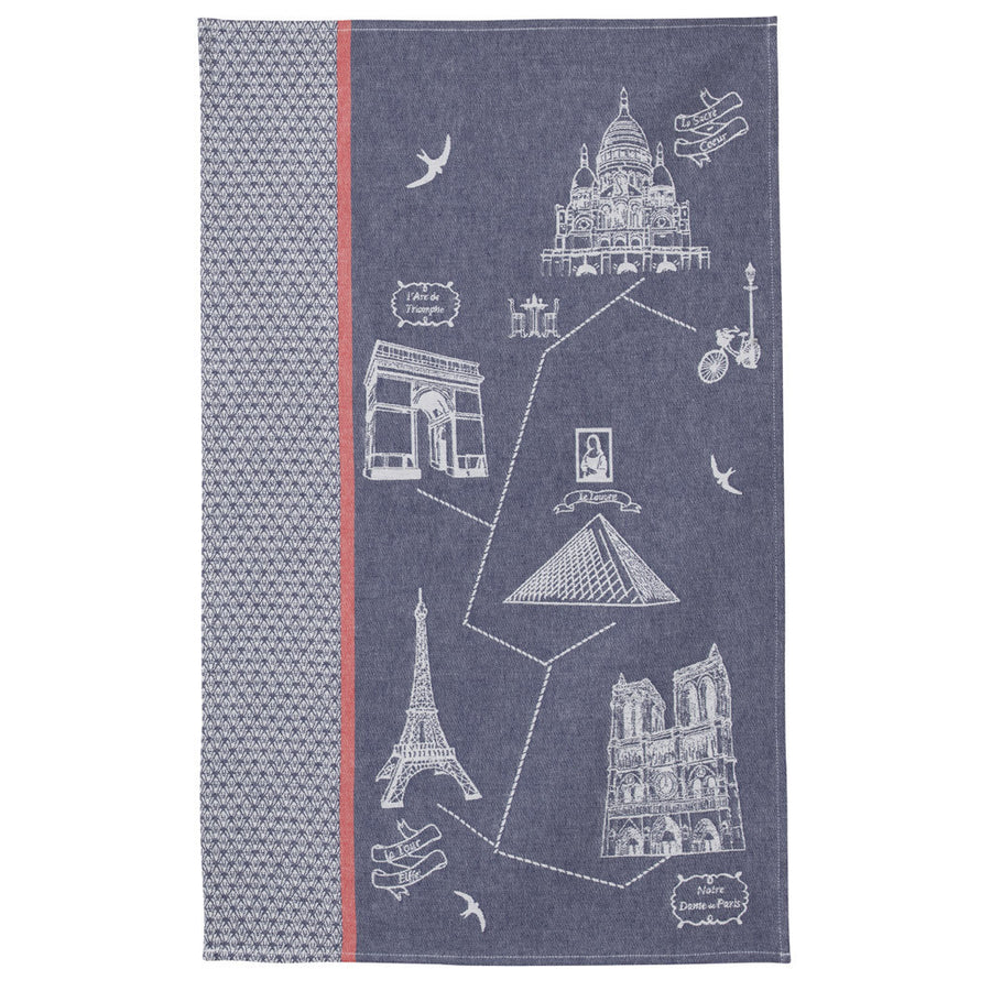Coucke Monuments de Paris French Jacquard Dish Towel - Striped Design