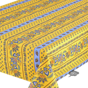 "60x108"" Rectangular Lisa Yellow Cotton Coated French Country Tablecloth - Close Up"