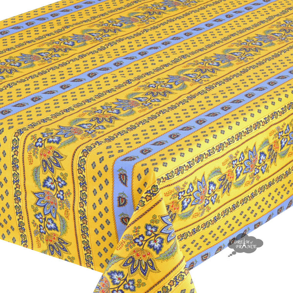 "60x132"" Rectangular Lisa Yellow Cotton Coated French Country Tablecloth by Le Cluny"