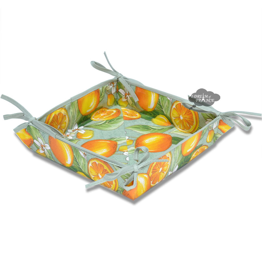 Lemons Green Acrylic Coated Cotton Bread Basket