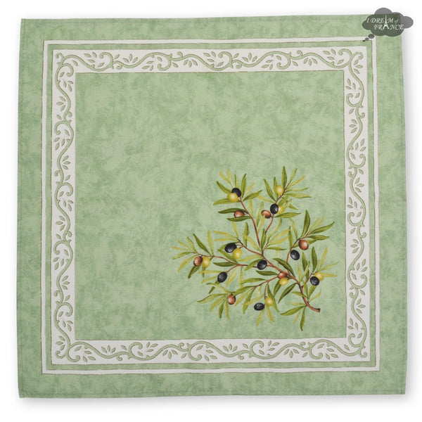 Clos des oliviers green Provence Cotton Napkin by Tissus Toselli