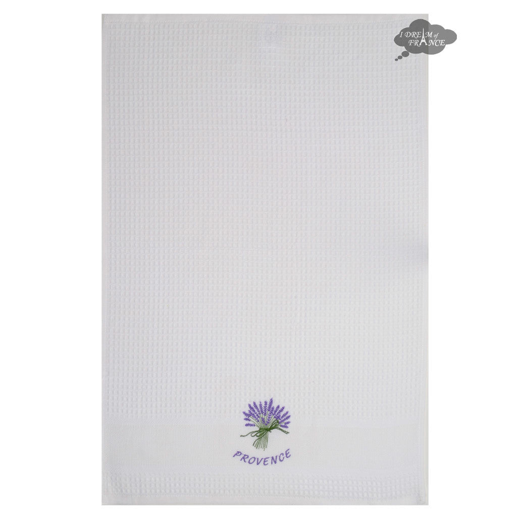 Lavender White Waffle Weave Kitchen Towel By Tissus Toselli