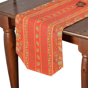 "14x72"" Lisa Red Cotton Coated Provence Table Runner by Le Cluny"