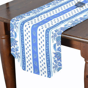 "14x72"" Lisa White Cotton Coated Provence Table Runner by Le Cluny"