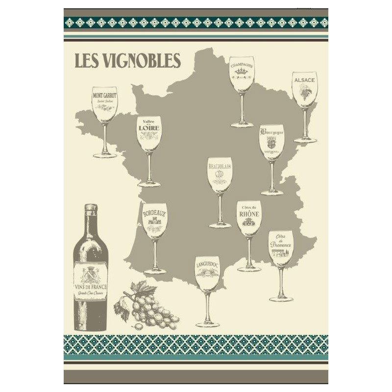 French Wine Map Jacquard Kitchen Towel by Montolivet
