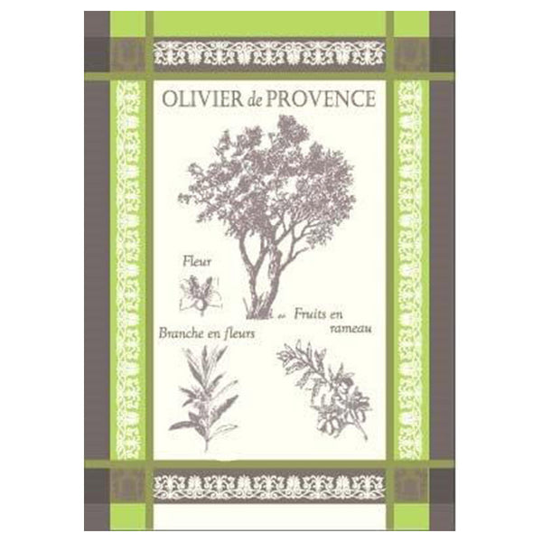 Provence Olive Tree Green French Jacquard Kitchen Towel by Montolivet
