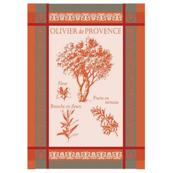 Provence Olive Tree Red French Jacquard Kitchen Towel by Montolivet