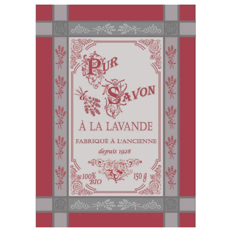Lavandiere Red French Jacquard Kitchen Towel by Montolivet