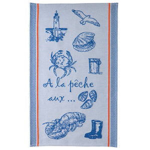 Coucke A La Peche (Gone Fishing) French Jacquard Dish Towel - Striped Design