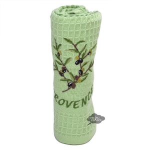 Olives Green Waffle Weave Kitchen Towel by Tissus Toselli